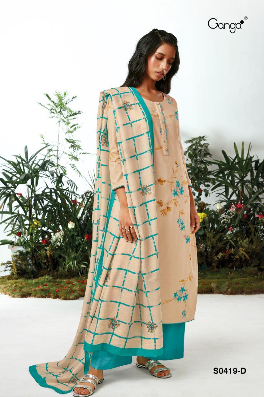 Ganga Nimma 419 Premium Voile Print With Handwork Suit
