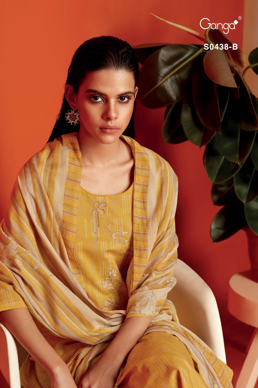 Ganga Misty 438 Premium Cotton Printed With Embroidery Suit