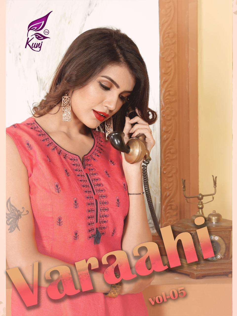 Vaarahi Vol.5 By Kunj Heavy Rayon Two Tone With Work Kurti