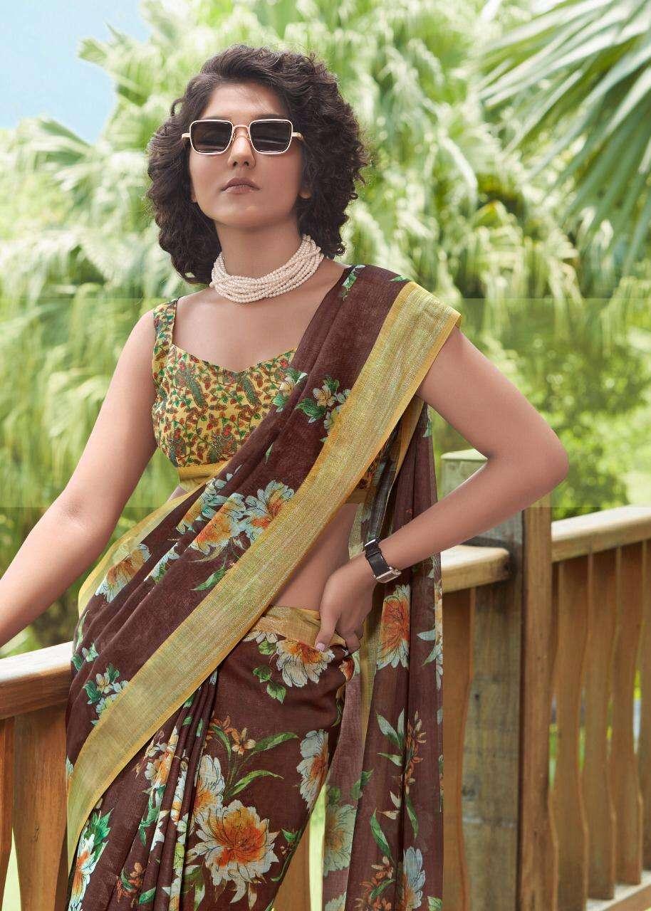 Shvetambar Creation Silver Multy Delight Part 3 Linen Saris Wholesaler