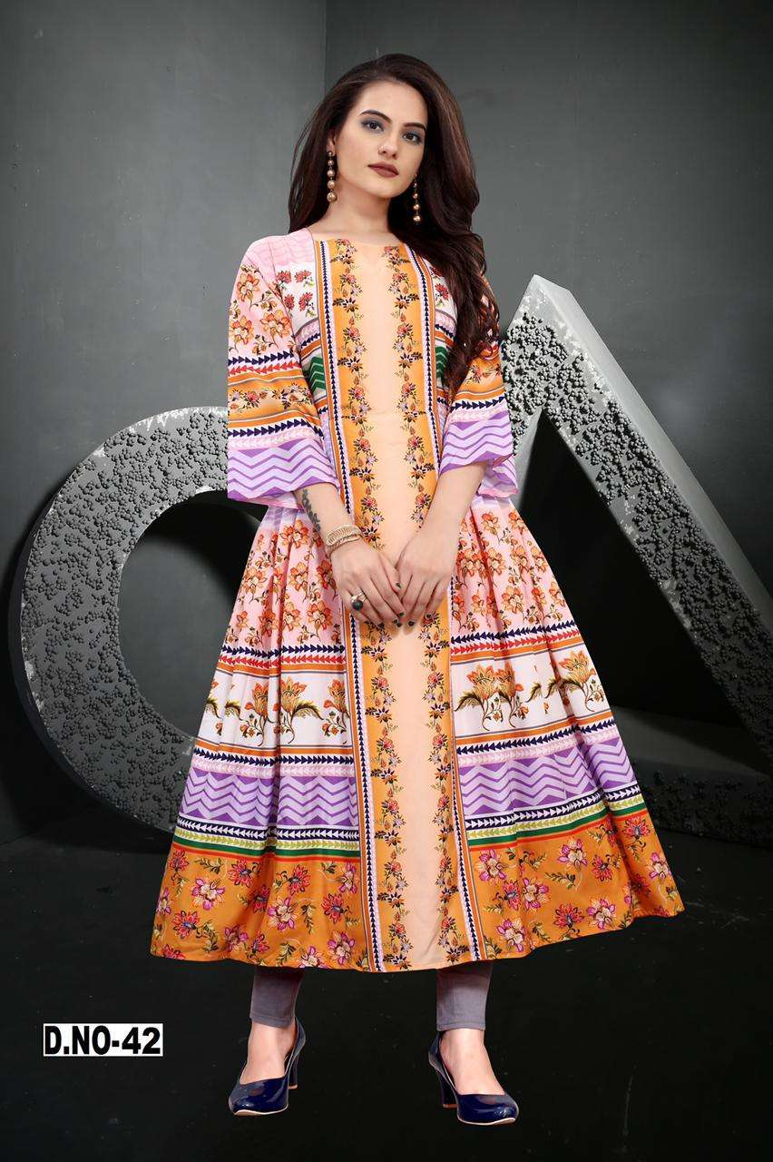 Peafowl Vol-73 Series 34-44 Maslin Silk Casual Wear Ladies Kurtis