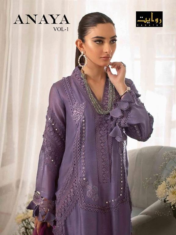 Rawayat Anaya Vol-1 Pure Cotton Embroidery Suit