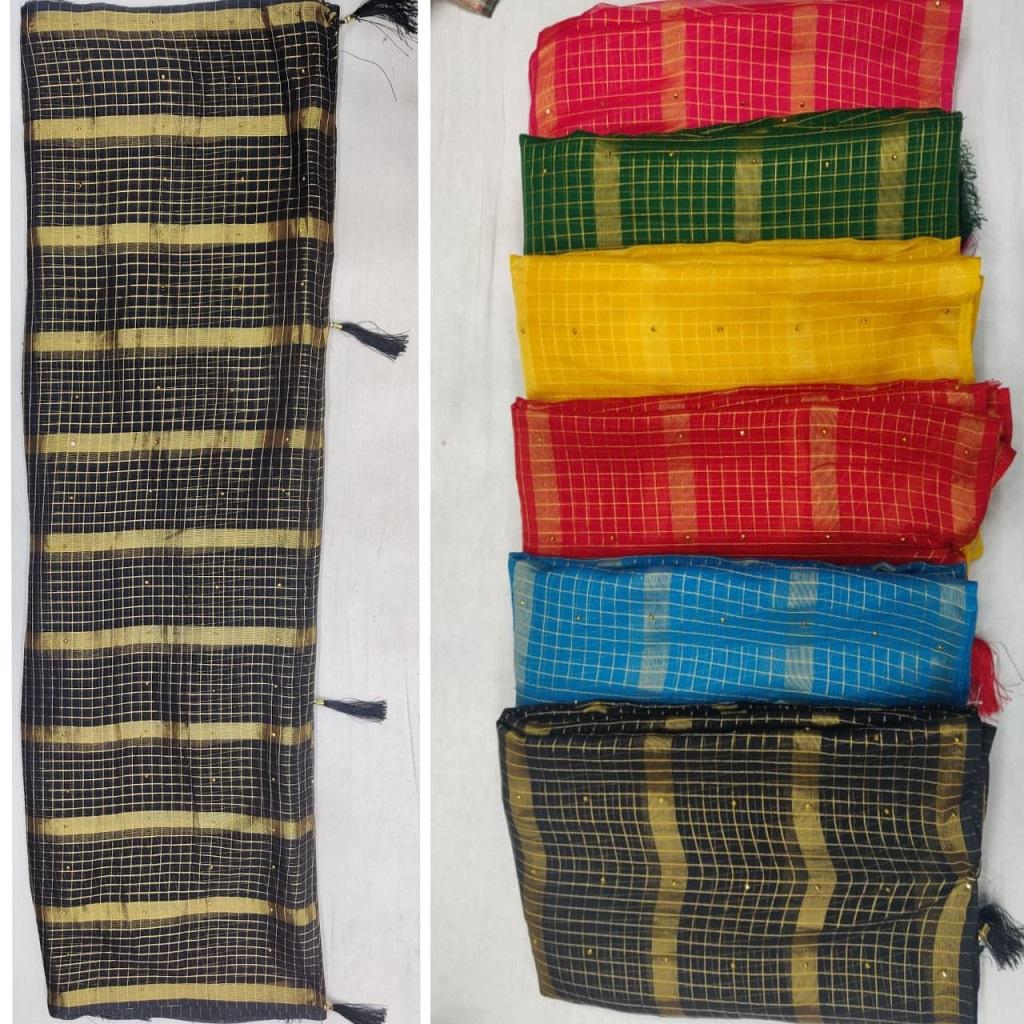 Mayra Saree Kit-kat 40-40 Shiffon Fabric With Latkan And Diamonds Saree