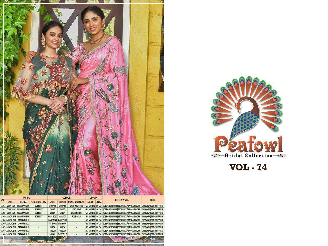 Peafowl Vol 74 Exclusive Silk Embroidery Fancy Sarees