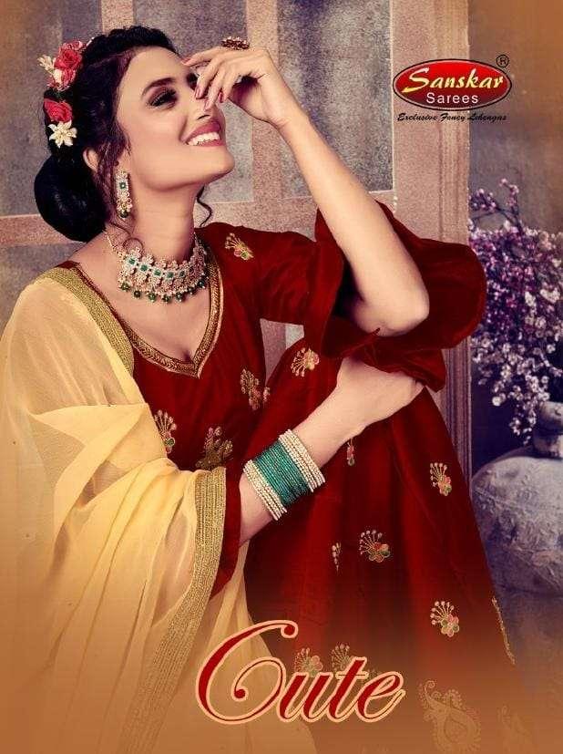 Sanskar Style Cute Casual Wear Dark Rangoli Lehenga Catalogue