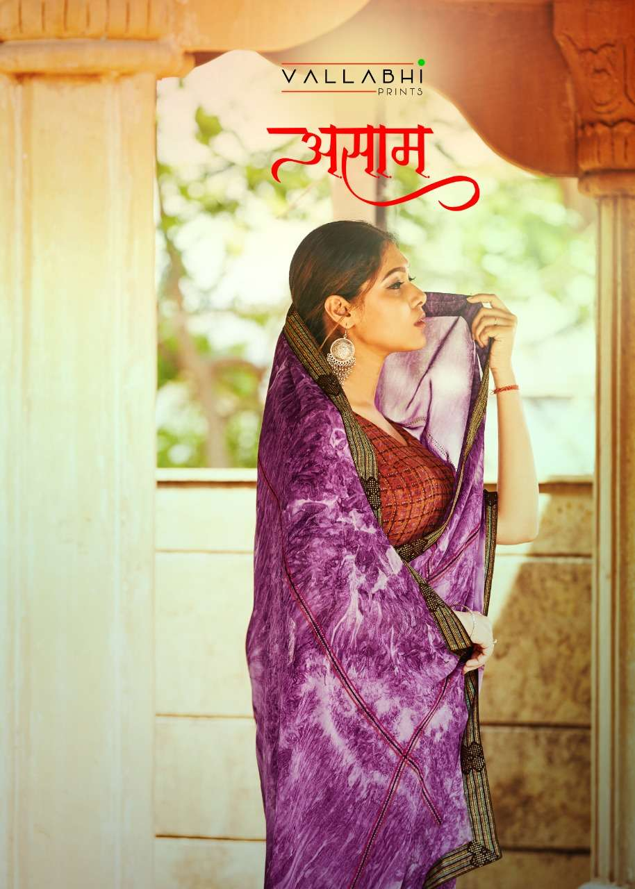 Vallabhi Assam Georgette Printed Casual Wear Saree