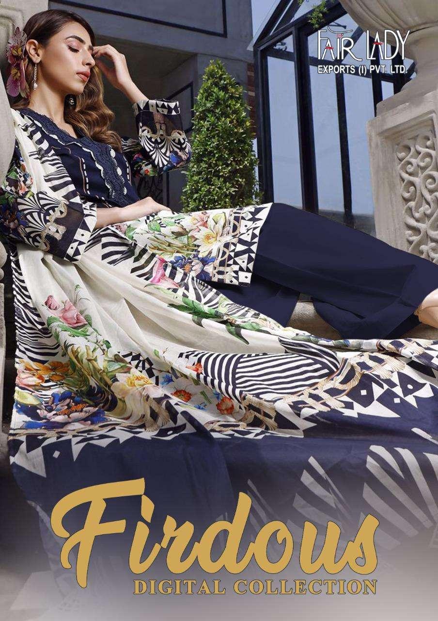 Firdous Digital By Fairlady Lawn Cotton Pakistani Designer Suits