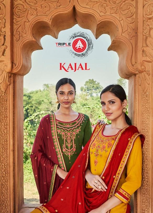 Triple Aaa Kajal Series 381-388 Jam Silk Embroidery Work Suit