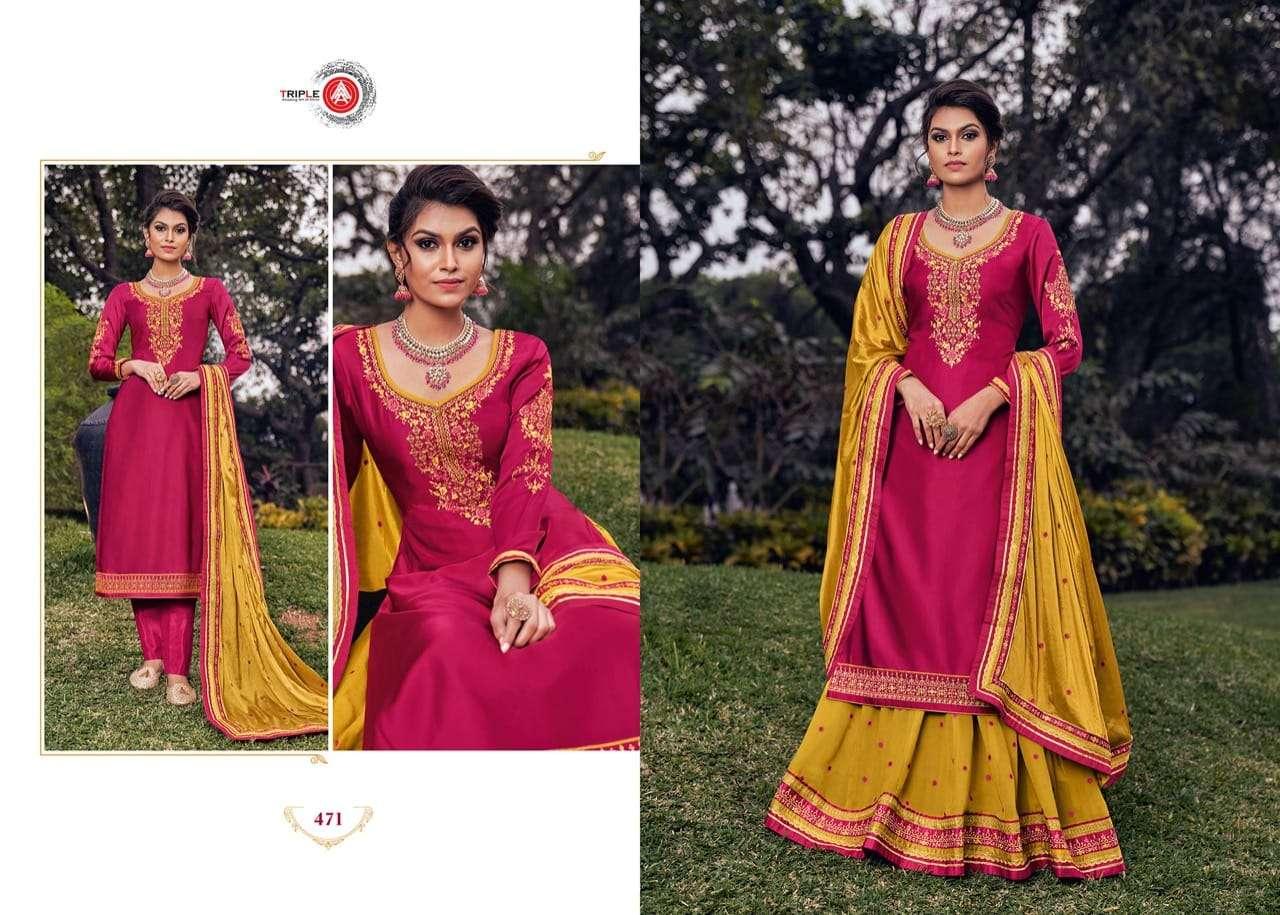 Triple Aaa Kohinoor Series 471-476 Satin Georgette Lehenga Suits