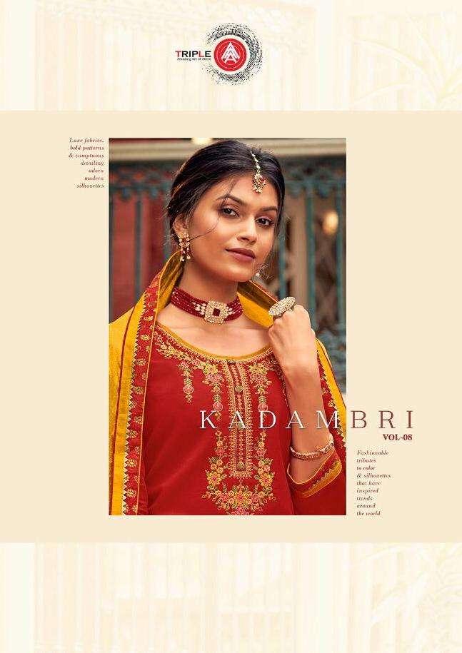 Triple Aaa Kadambari Vol-8 Series 691-696 Jam Silk Lehega Suit