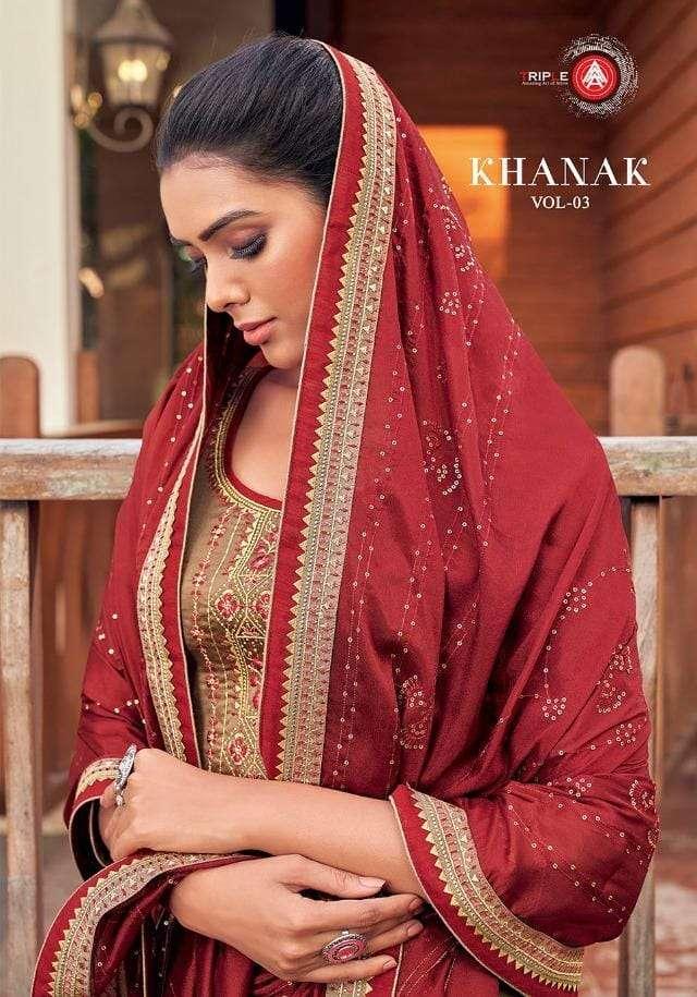 Triple Aaa Khanak Vol-3 Jam Silk Ladies Dress Materials
