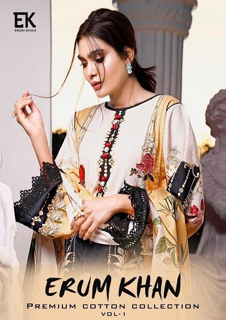 Erum Khan Vol-1 Series 1001-1006 Cotton Printed Suit