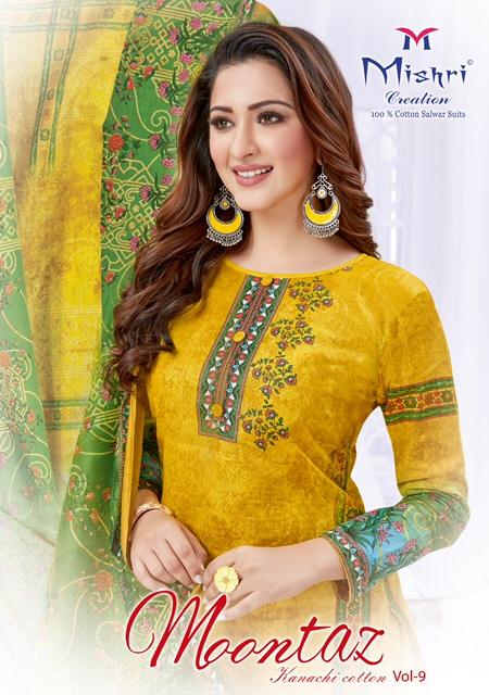 Mishri Moomtaz Karachi Cotton Vol-9 Series 9001-9010 Cotton Print Suit