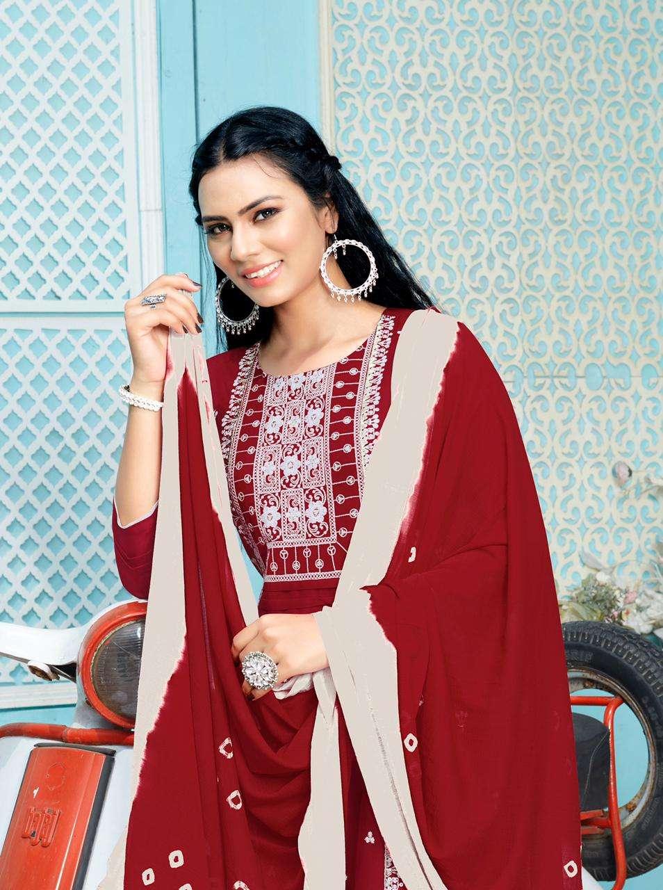 Rijiya Trends Presents Lucknowi Readymade Designer Kurti With Bottom And Dupatta