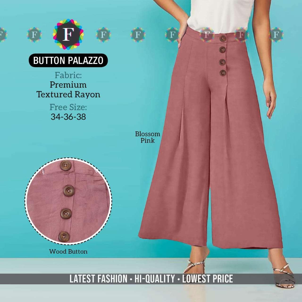 K4u Button Palazzo Rayon Ehtnic Wear Ladies Plazzo