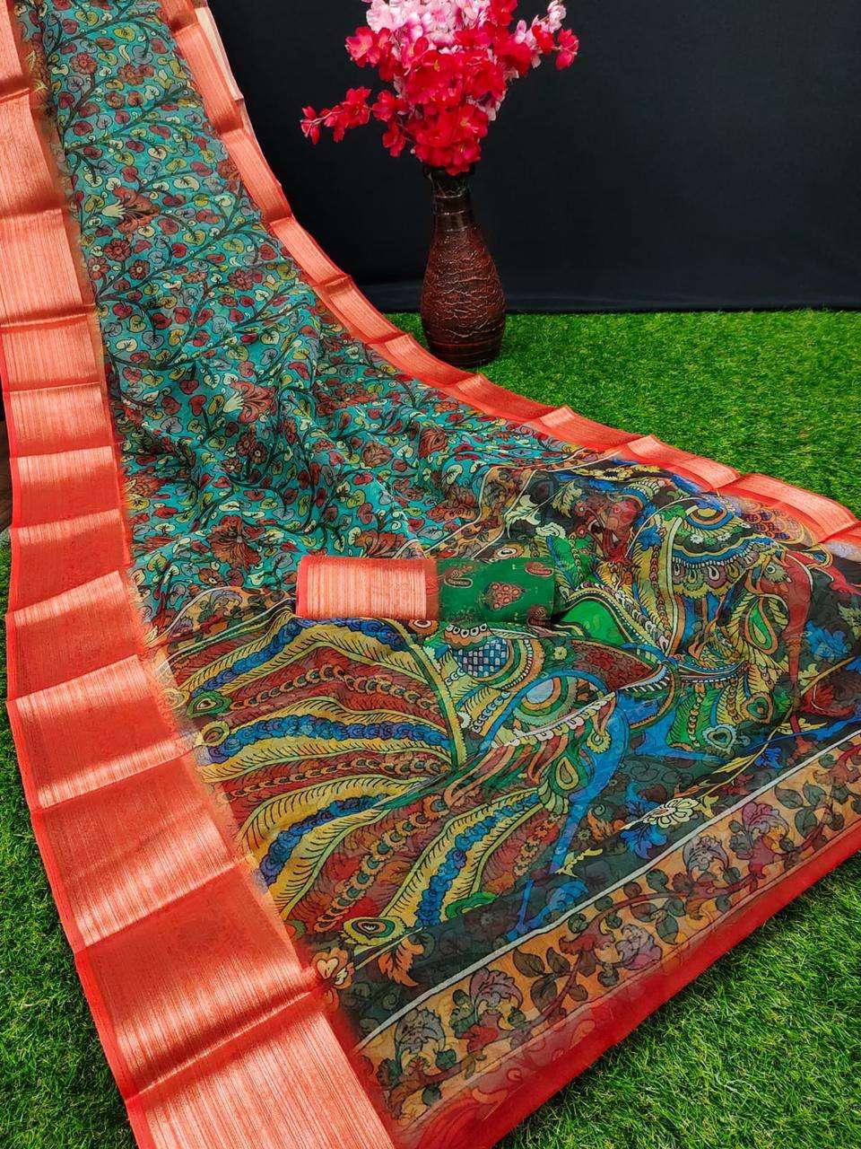 Shreyans Fashion Organza Kalamkari South Indian Saree