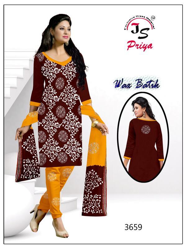 Js Priya Wax Batik Pure Cotton Batik Prints Suit