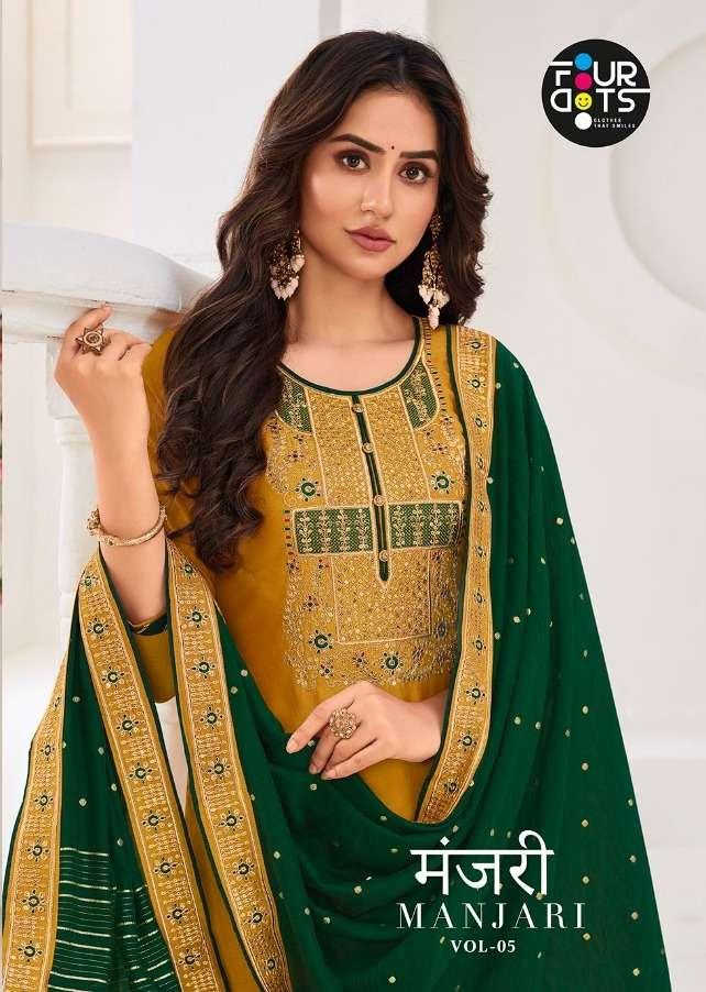 Fourdots Manjari Vol 5 Silk Embroidery Designer Salwar Kameez
