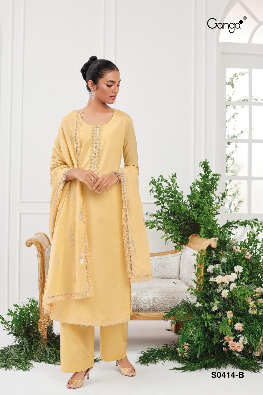 Ganga Myna 414 Premium Cotton Solid With Embroidery Suit