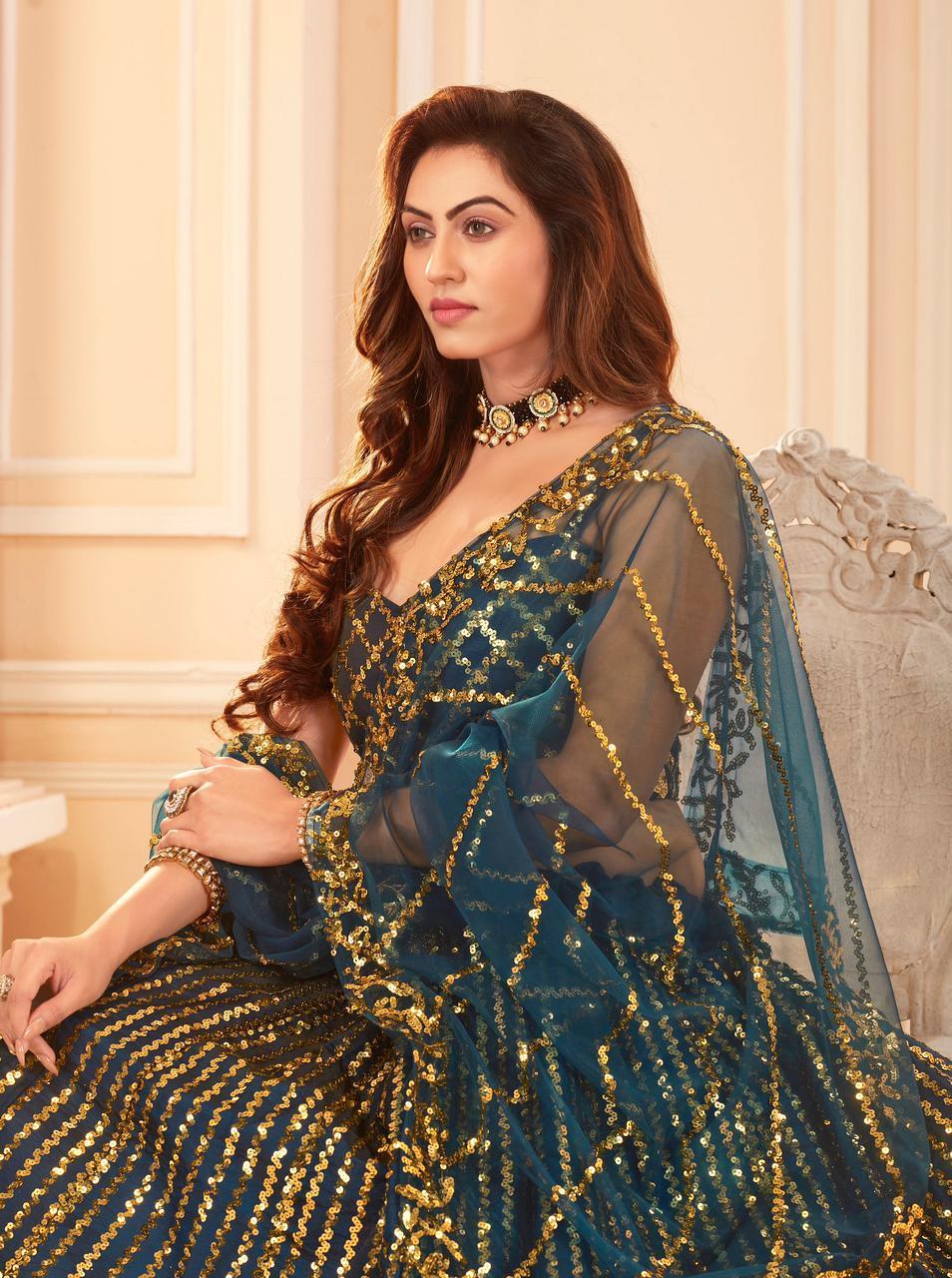 Senhora Dresses Sakhi Bridal Heritage Vol-7 Designer Silk Satin Lehenga