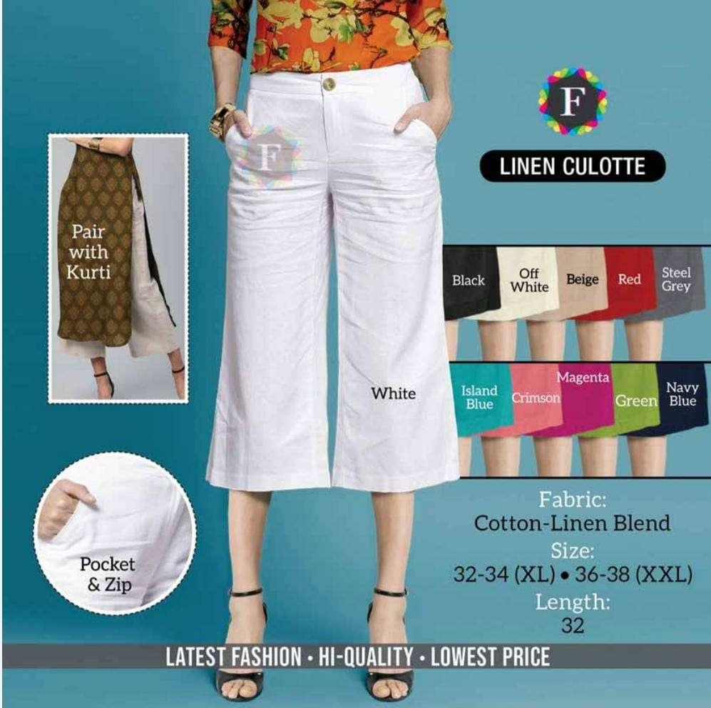 Linen Culotte By K4u Cotton Linen Western Wear Collection