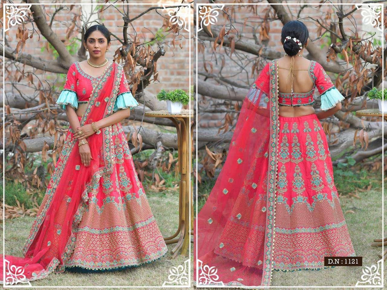 Peafowl Vol-76 Series 1121-1130 Pashmina Silk Reasham Work Lehenga