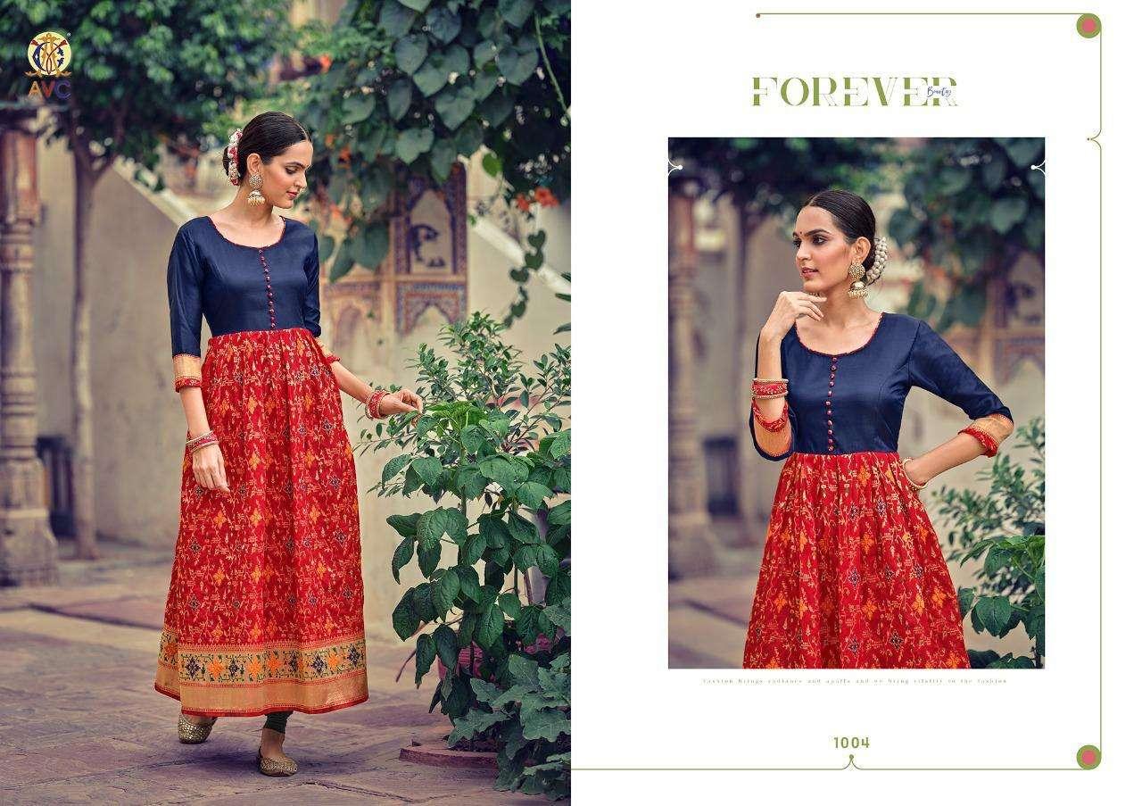 Avc Sohana Series 1001-1008 Lichi Minakari Jacquard Long Gown