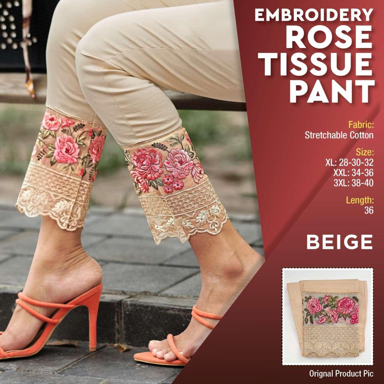 K4u Present Embroidery Rose Tissue Pant Cotton Designer Fancy Pant