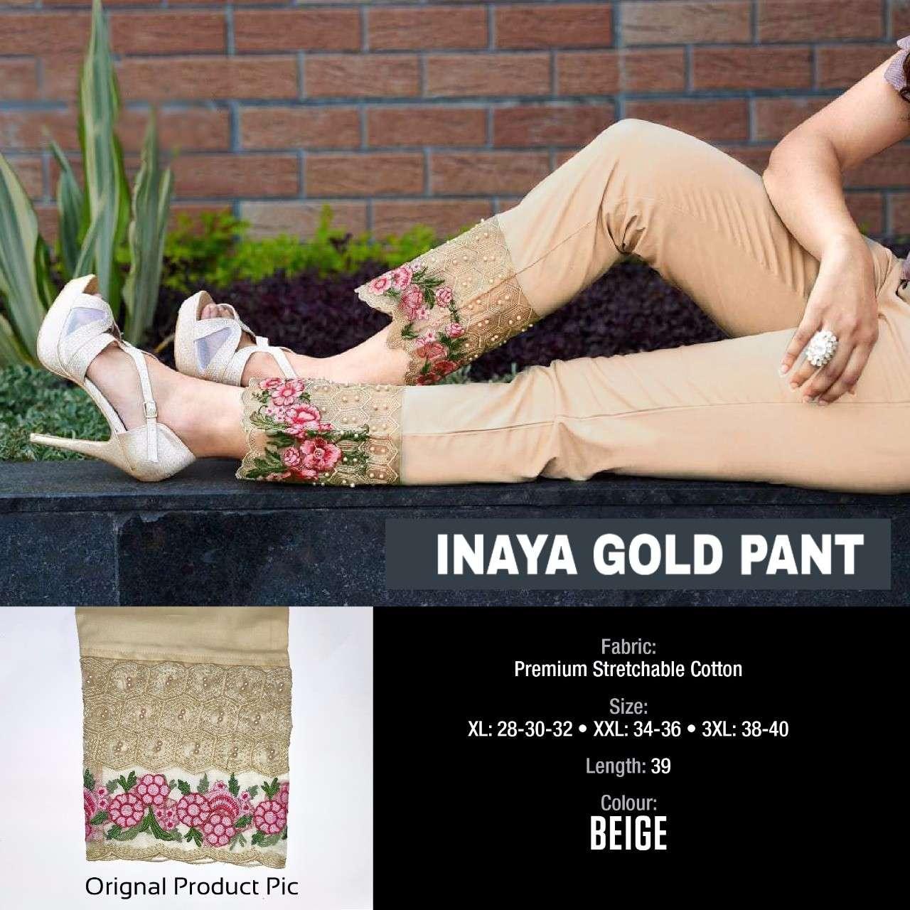 Inaya Gold Pant By K4u Cotton Embroidery Western Wear Fancy Ladies Pant