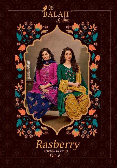 Balaji Rasberry Patiyala Vol 6 Pure Cotton Suit