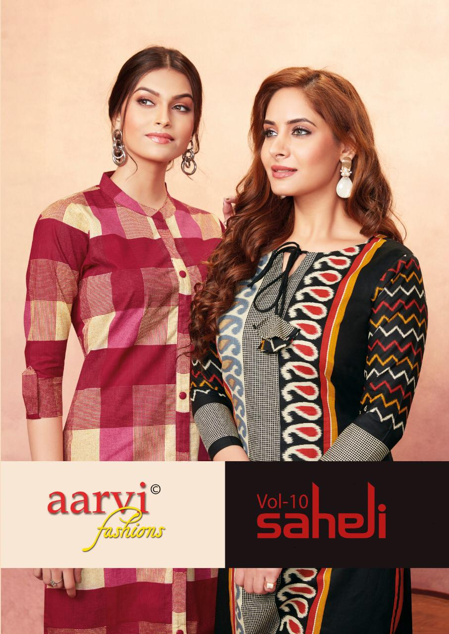 Aarvi Saheli Vol 10 Heavy Cotton Print Kurti Fabrics