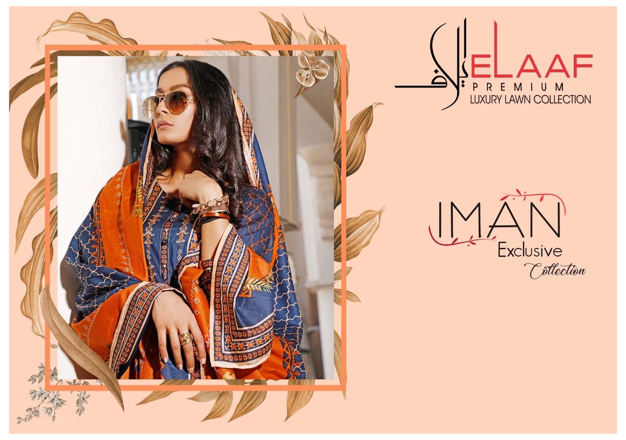 Iman Elaaf Premium Collection Lawn Collection Pure Premium Luxury Lawn Cotton Suit