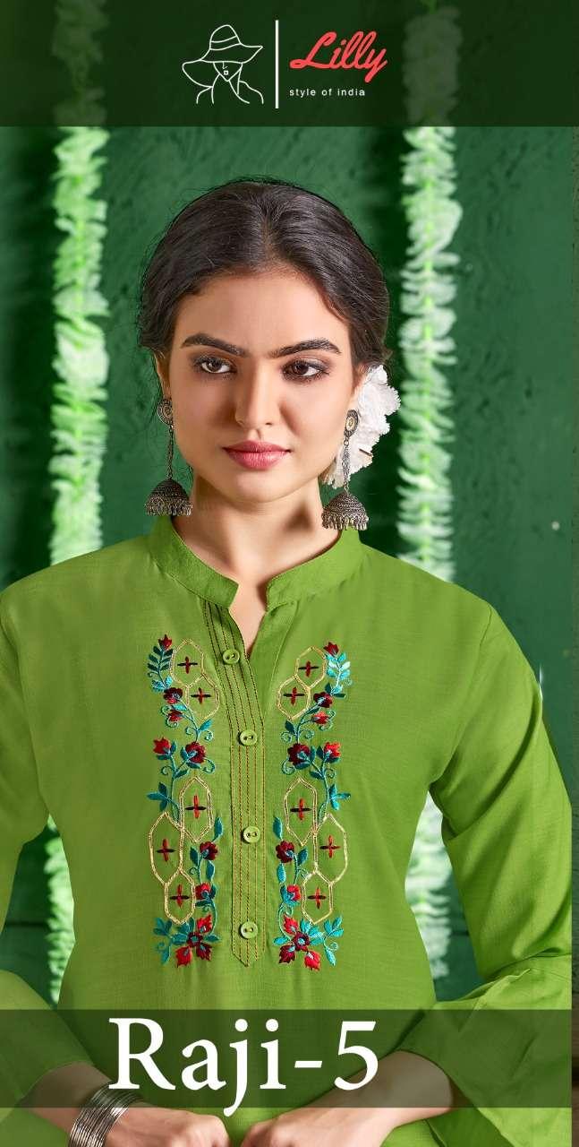 Lilly Raji Vol-5 Series 6001-6005 Cotton Work Kurti With Pant