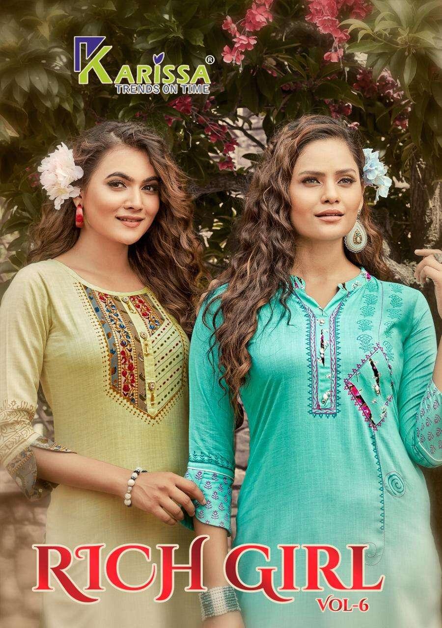 Rich Girl Vol 6 By Karissa Rayon Casual Wear Indian Kurti