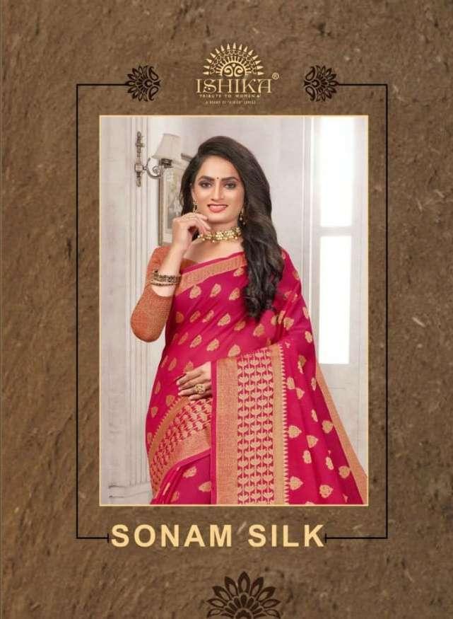 Sonam Silk By Ishika Soft Cotton Silk Traditional Wear Saree