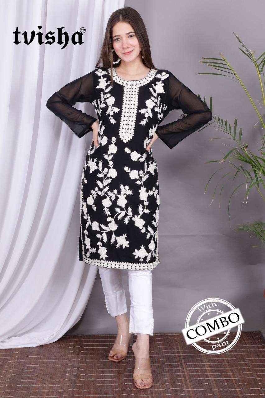 Vf Tvisha Present Aafreen Georgette Work Kurti With Silk Satin Bottom Collection