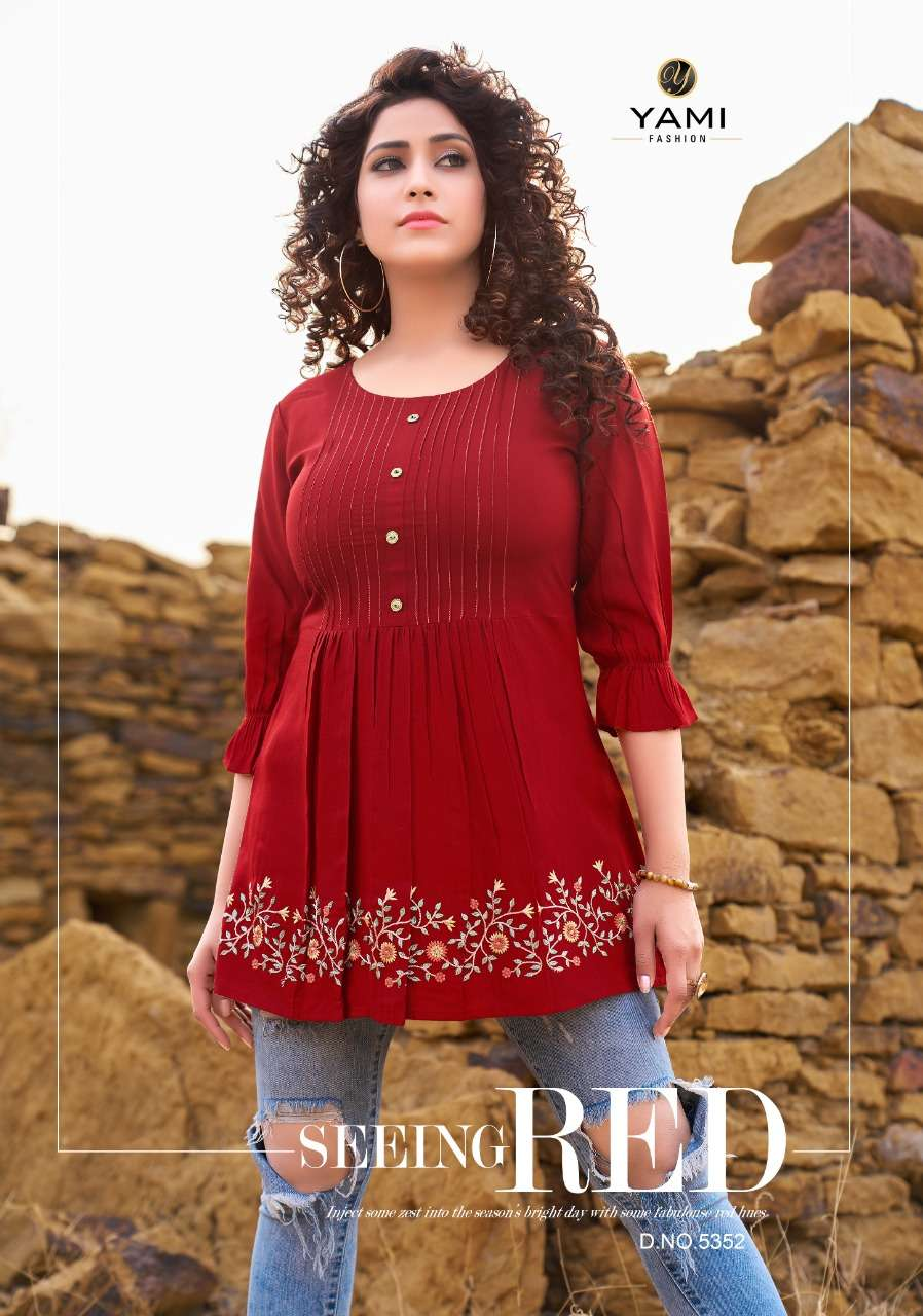 Bold Vol 4 By Yami Rayon Work Ladies Short Jeans Top Collection