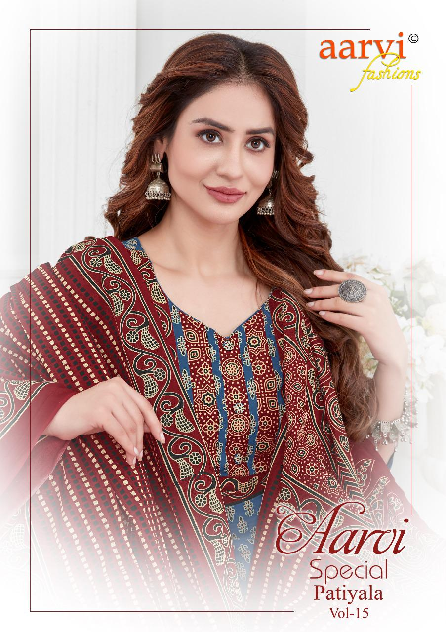 Aarvi Fashion Special Patiyala Vol-15 Series 5001-5012 Pure Cotton Suit
