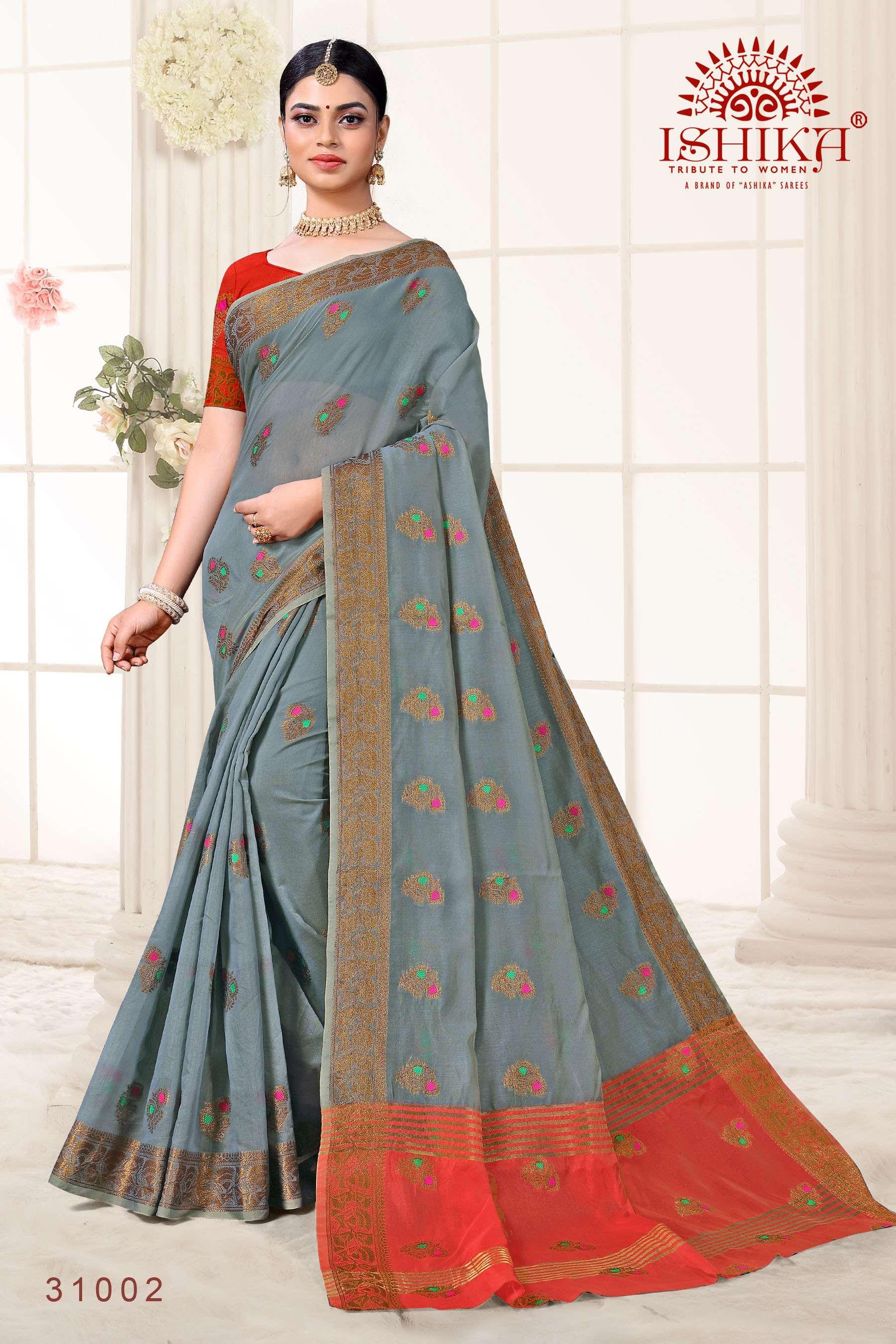 Ishika Sarees Kumkum Series 31001-31008 Cotton Silk Saree