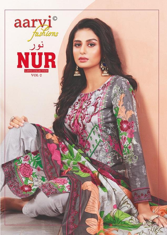 Aarvi Fashion Nur Lawn Collection Vol-2 Series 2001-2010 Pure Cotton Suit