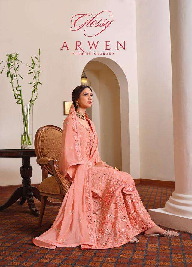 Arwen By Glossy Pure Chinon Embroidery Designer Suits