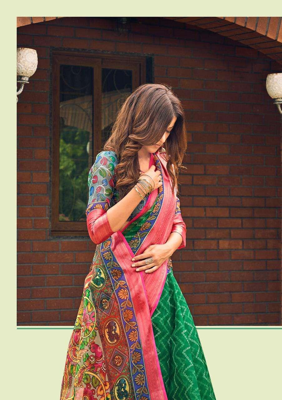 Shvetambar Bandez Kalmkari Silk Vol-2 Series 13-24 Organza Saree
