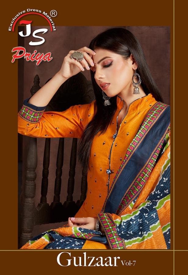 Js Priya Gulzaar Vol-7 Series 7001-7010 Pure Cotton Suit