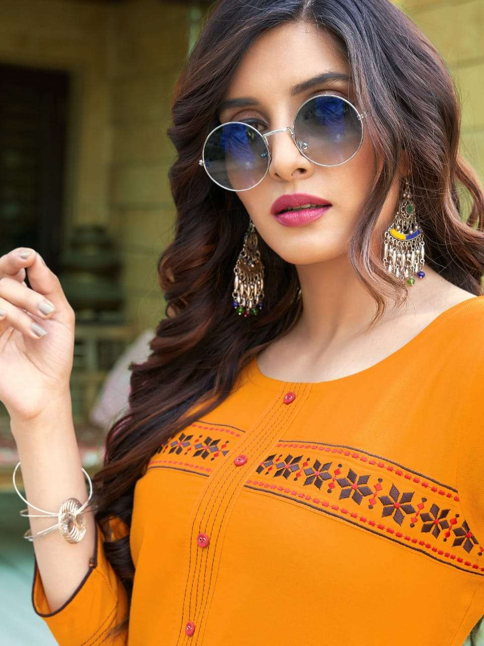 Lilly Orange Candy Fancy Casual Wear Readymade Kurti Wholesaler