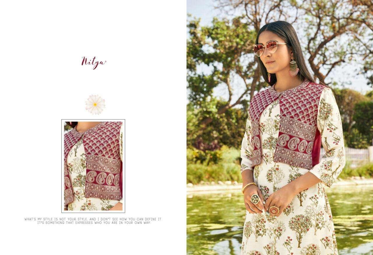 Lt Nitya Gardenia Rayon Long Kurtis With Cotton Jacket Collection