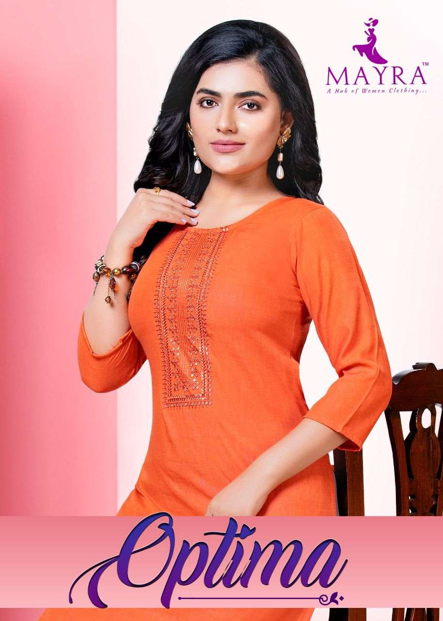 Optima By Mayra Reyon Liquid Slub With Sequence Embroydrey And Stiching Pattern With Side Pocket Kurti