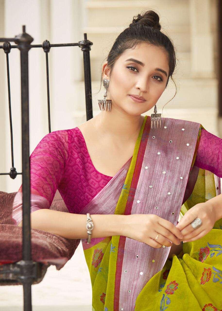 Shreyans Fashion Luxuria Silk Organza Saree With Mirror Work Border Concept