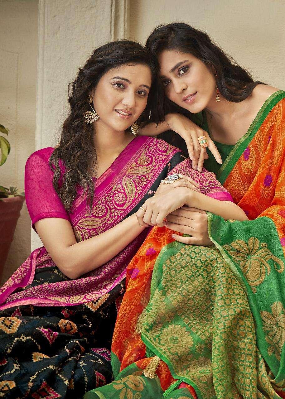 Shreyans Fashion Signature Stroke Linen Light Weight Saris Best Rates