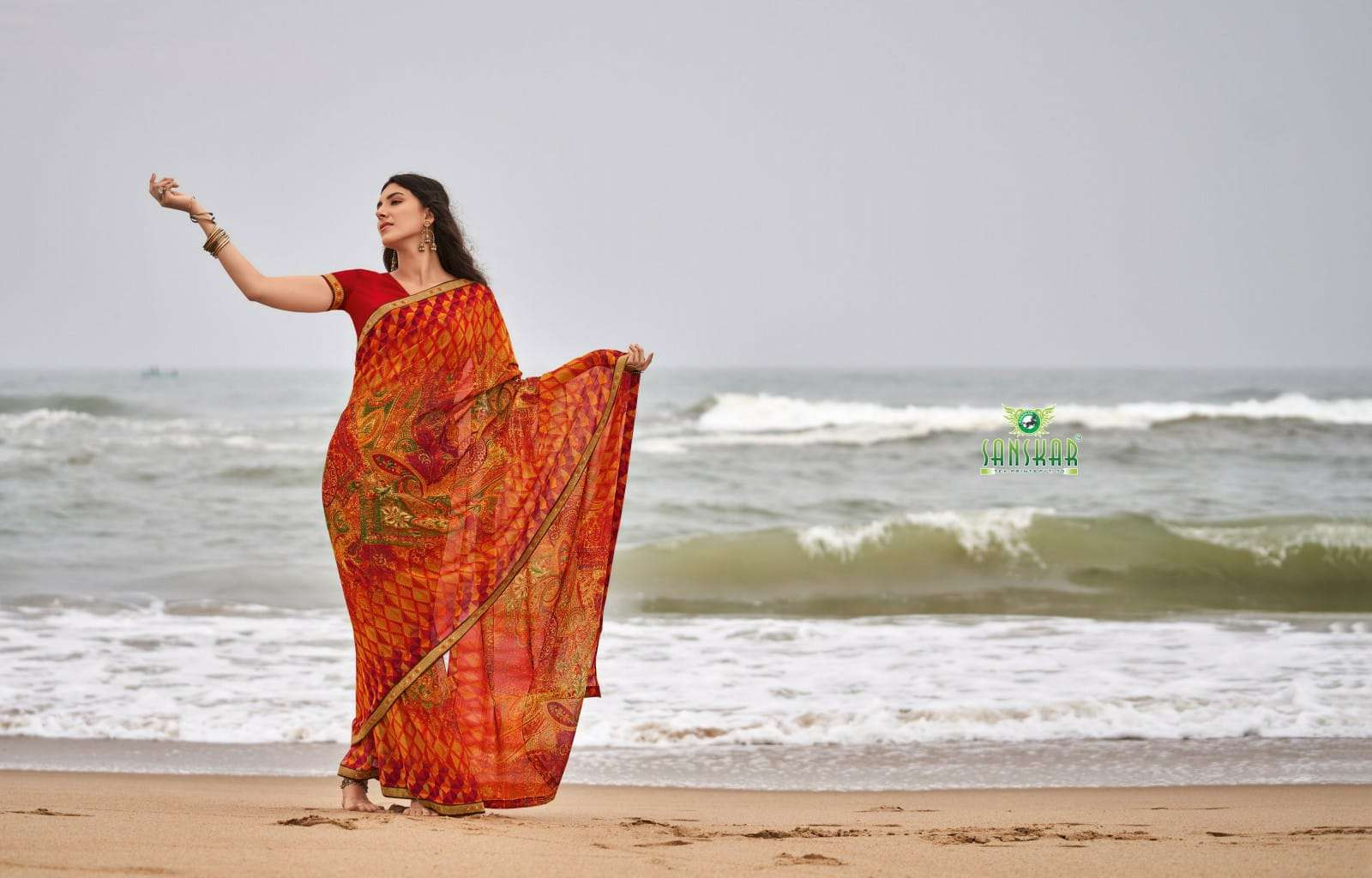 Sanskar Print Meera Pure Georgette Saree With Border Pattern Wholesale