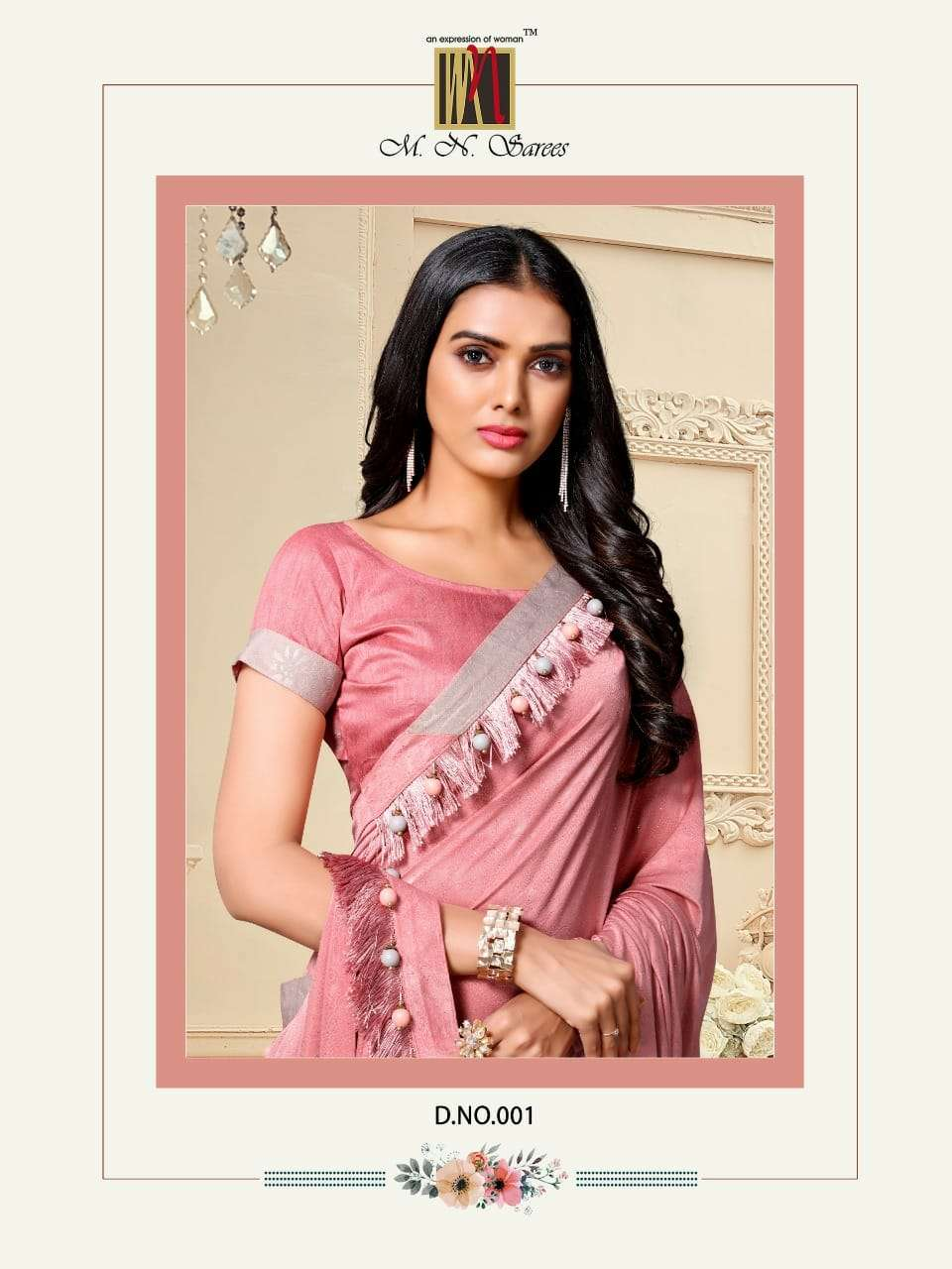M N Saree Akira Fancy Materials Designer Look Saris Wholesale Price